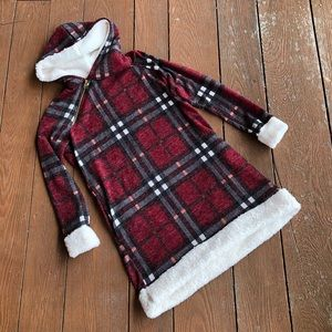 NWOT {Beeson River} plaid faux fur hooded tunic